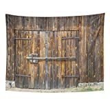 TOMPOP Tapestry Brown Aged Wooden Barn Door Huge Metal Plank Wall Home Decor Wall Hanging for Living Room Bedroom Dorm 60x80 Inches