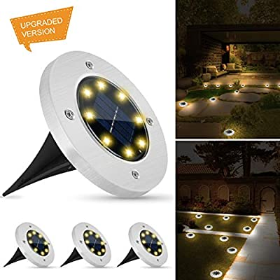 Weepong Solar Disk Lights Outdoor, New Upgrade 8 Led Bulbs Solar Ground Lights, IP65 Waterproof Solar Inground Lights with Light Sensor for Patio Lawn Yard Pathway Driveway Walkway (Warm White,4 Pack)