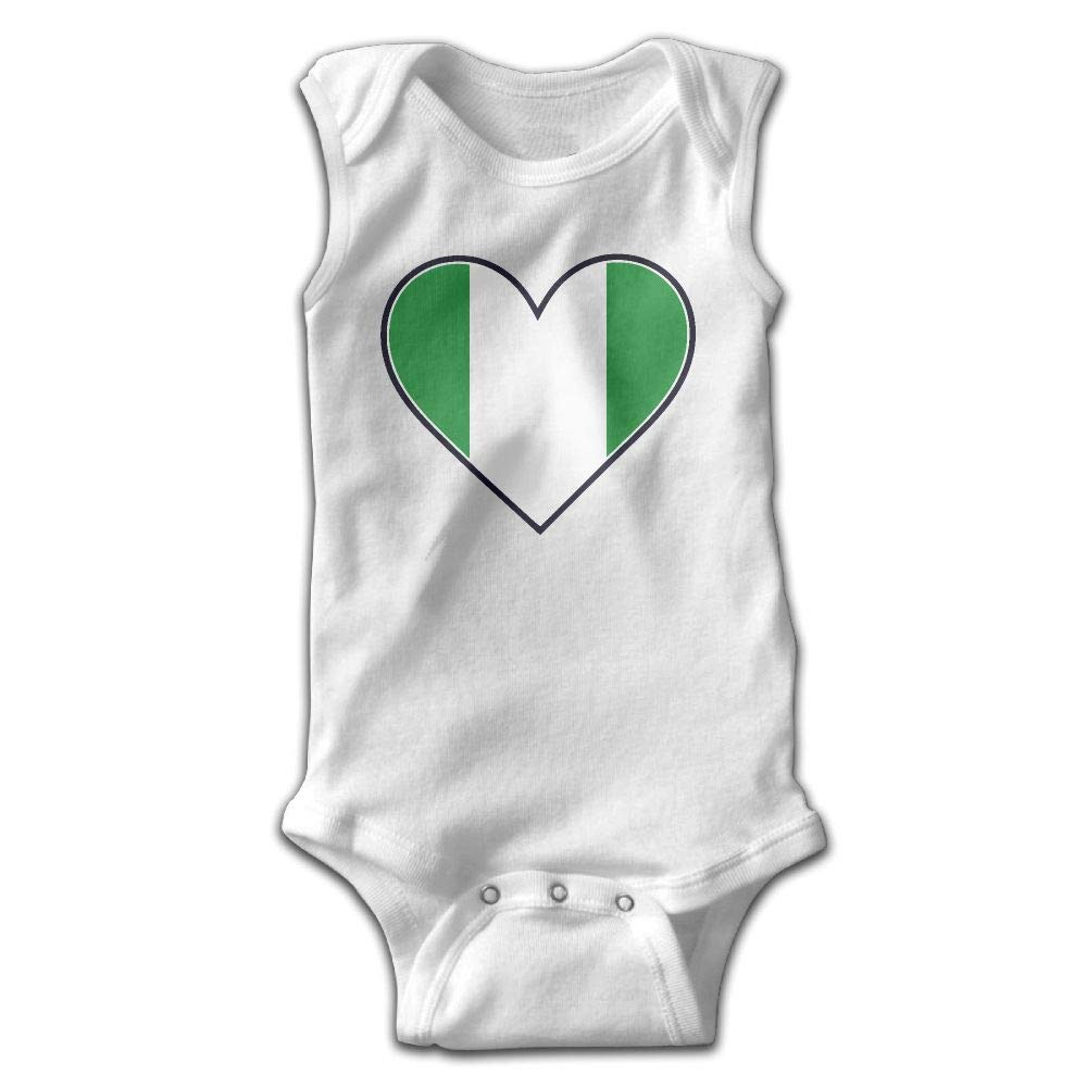 MMSSsJQ6 Nigeria Heart Flag Infant Baby Boys Girls Crawling Clothes Sleeveless Rompers Romper Jumpsuit White