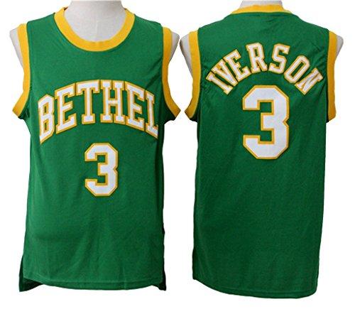 Men s Adult  3 Allen Iverson High School Jersey Green - Buy Online in Oman.   53d9120ddef5