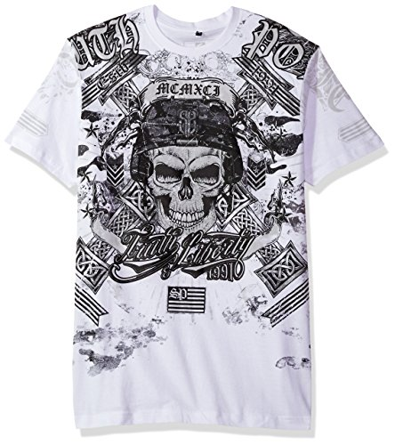 - Southpole Men's Short Sleeve Hd, Foil, Flock Print All Over Graphic Tee, White/Hd Skull, Small
