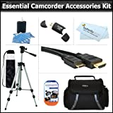 """Essential Accessory Kit For JVC GZ-MG750 GZ-MS110 GZ-MS230 GZ-HM320 GZ-HD500 GZ-HD620 GZ-HM550 GR-DA30 GZ-X900 GZ-HM300 GZ-HM1 GZ-MG130 GZ-HM340 Camcorder Includes 50"""" Tripod + Deluxe Case + Mini HDMI Cable + Lens Cleaning Kit + Screen Protectors + More"""