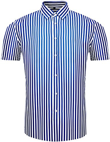 Linen Stripe Dress Shirt (DOKKIA Men's Casual Short Sleeve Vertical Striped Button Down Dress Shirts (Blue White, X-Large))