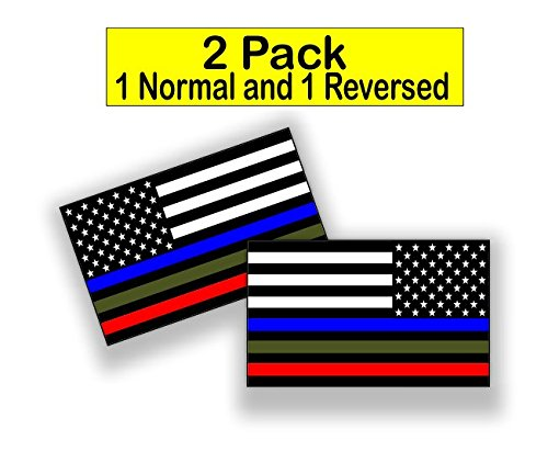 2 pack 1 Reversed Police Military and Fire Thin Line USA Flag Decal American Flag Sticker Blue Green and Red for cars trucks for honor and support our officers and troops 5 x 3 inch -