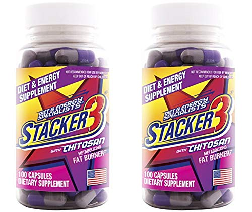 Chitosan Fat Burner - Stacker 3 Metabolizing Fat Burner with Chitosan, Capsules, 100-Count Bottle (Pack of 2)