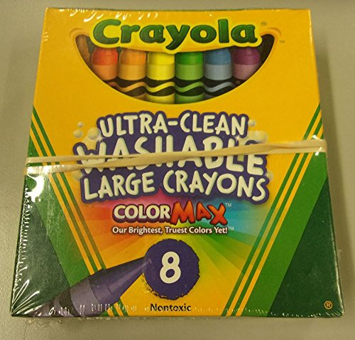 크래욜라 Crayola Washable Crayons, Large, 8 Colors - 2 Packs