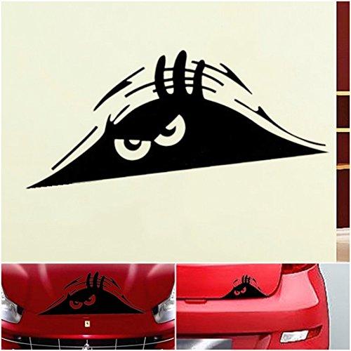 1 Pc Paradisiac Popular Funny Peeking Monster Car Sticker Scary Eyes Windows Decor Auto Decals Color Black