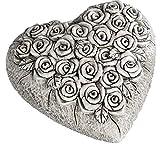 Formano Decorative Heart Sculpture Beautiful Grave Ornament Grave Decoration Grave Heart Figure for Tomb Sites Cream Grey 12 x 12 cm