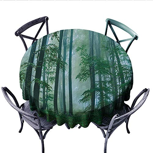 Woodland Nylon Parka - National Parks Home Decor Printed Circle Tablecloth Foggy Forest Magical Hazy Habitat Woodland Mist Serene Jungle Photo Stain Resistant Wrinkle Tablecloth (Round, 70 Inch, Green)