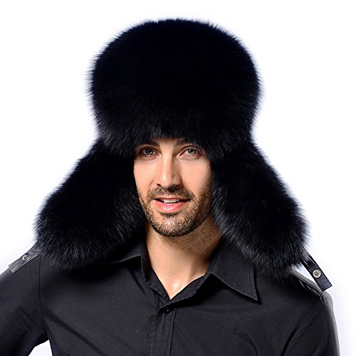 cc93fb5ec1a Men Winter Fur Trapper Hat - Real Fox Raccoon Fur Hunting Russian Cap Sheep  Skin Water