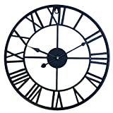 YAKOK 40CM Metal Silent Large Wall Clock Roman Numerals Vintage Iron Wall Clocks Design Clock for for Living Room, Kitchen, Bedroom, Office (Black)