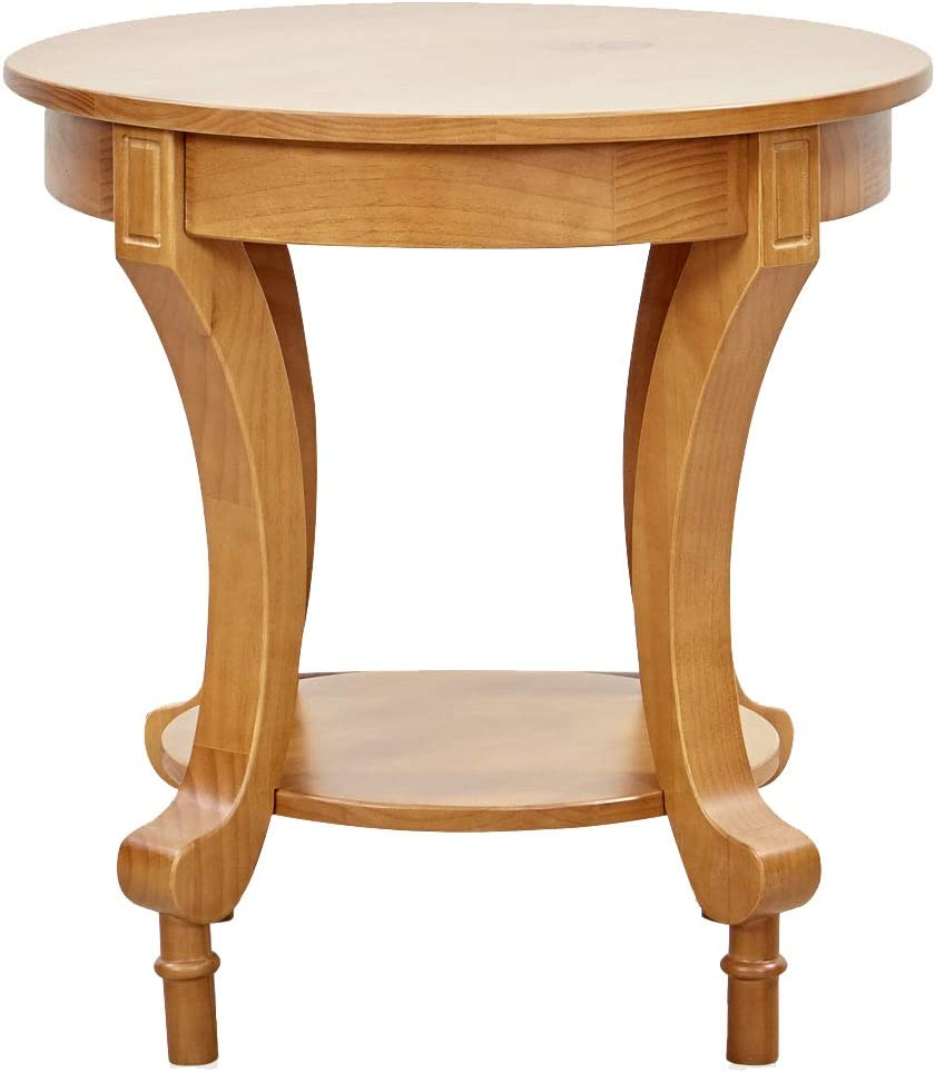 """Ravenna Home Traditional Solid Pine End Table, 24""""W, Oak Finish"""