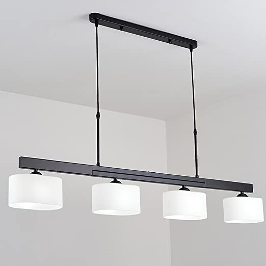 Lámparas colgantes de diseño moderno Lámpara colgante giratoria de 90 grados Lámpara colgante de 4 llamas Lámpara colgante de hierro Lámpara de cristal Lustres para mesa de comedor Sala de estar: Amazon.es: