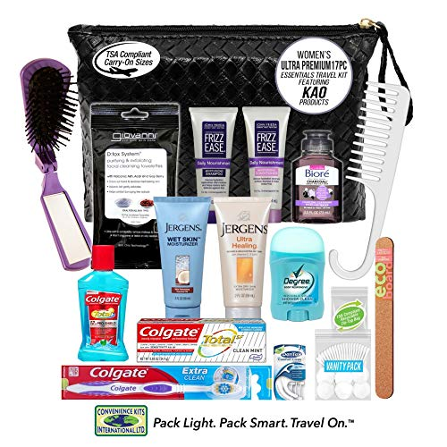 Convenience Kits International, Women's 7 PC Premium Assembled Toiletry Kit, BLACK, 1 Count
