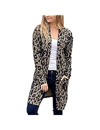 HHmei Women's Classic Leopard Outwear - Pocket Coat Blouse T-Shirt Cardigan Tops