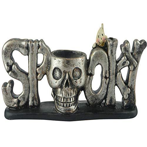 Vine_MINMI Skull Pen Holder Office Desktop Ossuary Decor Cranium Skeleton Head Stationery Holder As Halloween Decorative ()