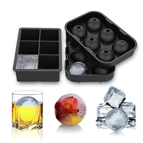 E-POWIND Ice Cube Trays -2 Pack Food Grade Silicone Round Spheres Ice Mold for Whiskey Cocktail Soft Drinks (Black)