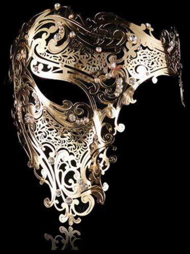 Goodkssop Luxury Mask Women Men's Signature Phantom of the Opera Half Face Skull Cool Mask Metal -