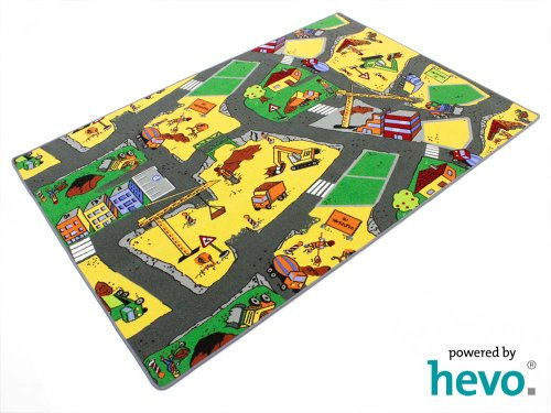 Baustelle gelb HEVO ® Teppich   Spielteppich   Kinderteppich 135x200 cm Oeko-Tex 100