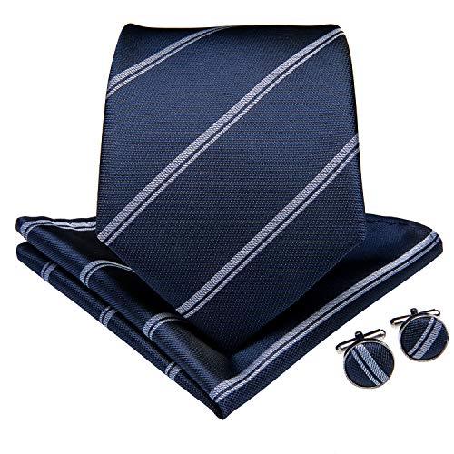 DiBanGu Men's Silk Tie and Handkerchief Woven Stripe Necktie Cufflink Set Business (Navy)