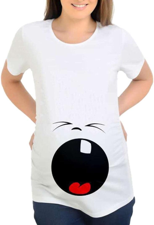 MCYs Maternity Damen Mutterschaft T-Shirt Baby Cartoon Panda Cute L/ässige Schwangerschaft Geschenk Kurzarm S/ü/ße Umstands-Shirt Pflege Mama Crewneck Umstandsmode