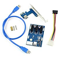 LGDehome PCIe 1 to 3 PCI Express 1X Slots Riser Card Mini ITX to External 3 PCI-e Slot Adapter PCIe Port Multiplier Card