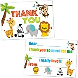 Safari Jungle Zoo Animals Kids Fill In Thank You Cards - (20 Count with Envelopes) …