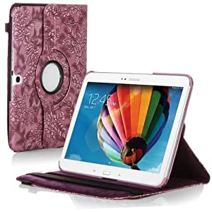 Century Accessory Rotating Embossed Flower Leather Case For Samsung Galaxy Tab 3 10.1 P5200 Purple