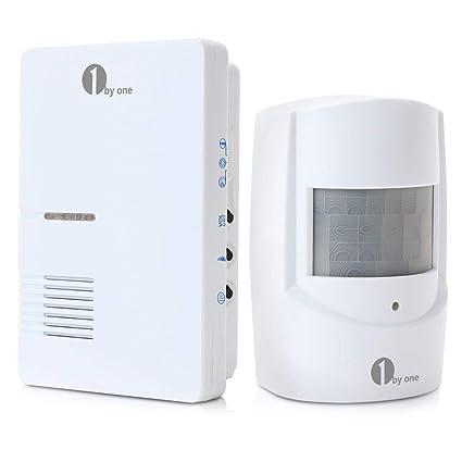1byone Alarma de acceso de camino, 1 receptor enchufable 1 detector de movimiento infrarrojo,