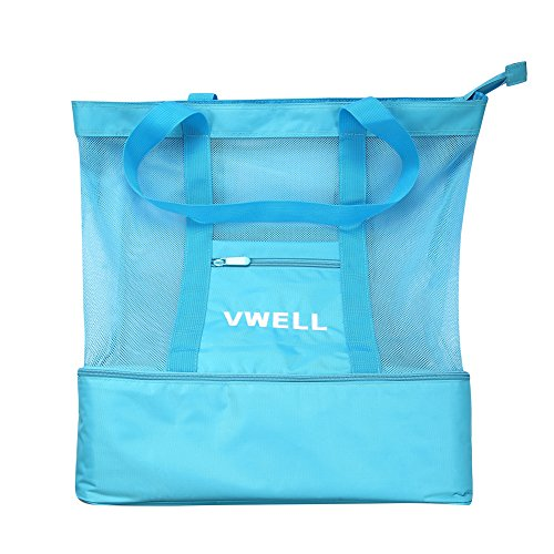 Mesh Beach Bag Insulated Picnic Cooler Beach Tote Bag For Women With Zipper Top By VWELL