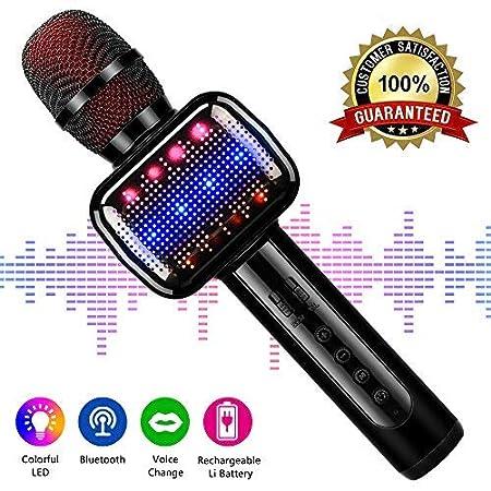 Karaoke Mikrophon, Karaoke Anlage Kinder, Bluetooth 4.2 Karaoke-Mikrofon Tragbare Handheld Karaoke Mic Home Party Weihnachten