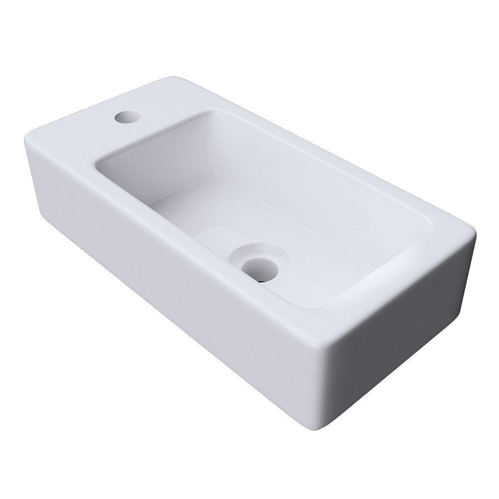 Durovin bagni, Bruessel, solido lavabo in ceramica, 3053R, forma rettangolare, piccolo e compatto 360x 95 mm, bianco lucido da parete, Solo lavandino, White, 360x95x180mm (WxHxD) Durovin Bathrooms