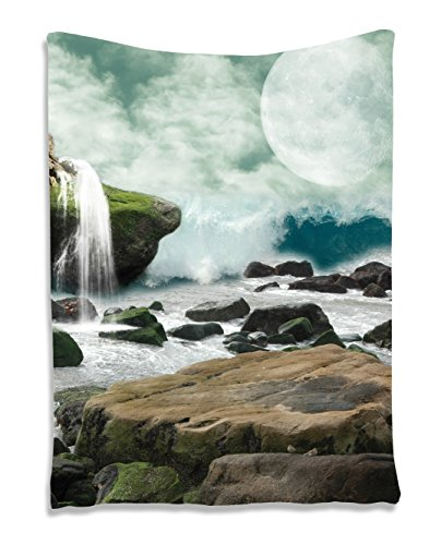 Nature Tapestry Waterfall and Full Moon Tapestry Wall Hanging Wall 60 x 80 inches Living Room / Bedroom / Dorm Decor - One of a Kind - Machine Washable, Green White Teal Brown
