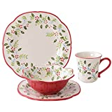 16-Piece Dinnerware set, DL Stylish Service for 4, Christmas Red Review