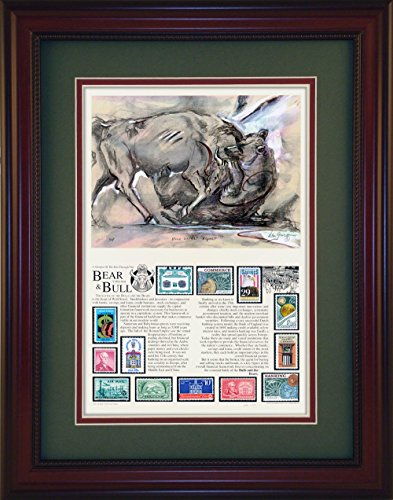Wall Street- Unique Framed CollectibleBull & Bear - Unique Framed Collectible (A Great Gift Idea)