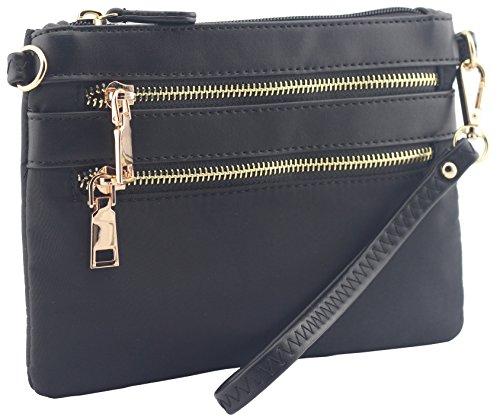 slim Nylon and Black pockets light bag purse small multi crossbody PqqxZCdw