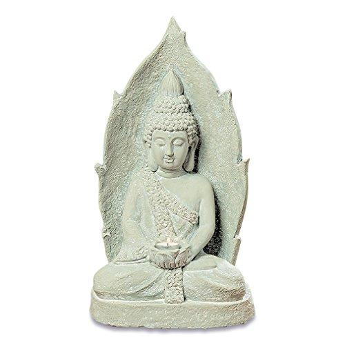 The Urban Zen Buddha Tea Light Holder Meditation Statue, Rustic Gray, Artisan Cast Magnesia, Shabby Stone Finish, Distressed Tonal Patina, 20 Inches Tall, by Whole House Worlds
