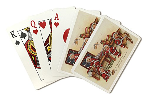 Bench Greeting Card - Christmas Greeting - Little Kids on Workbench (Playing Card Deck - 52 Card Poker Size with Jokers)