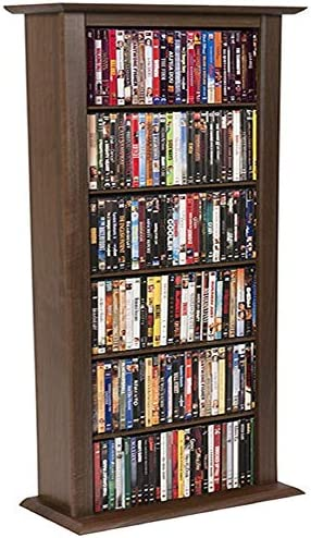Single Media Storage Tower Bookcase-Walnut