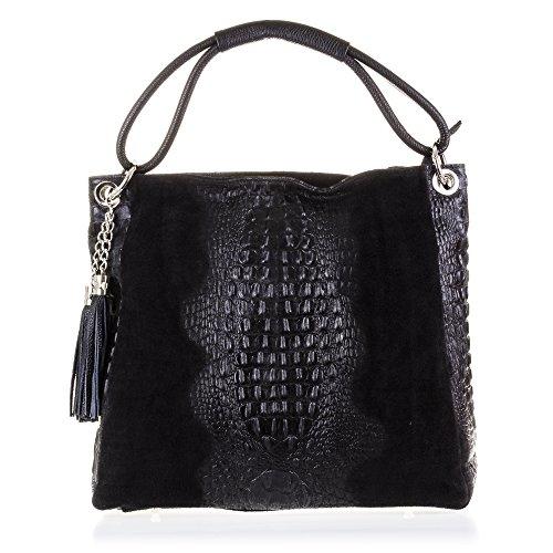 FIRENZE ARTEGIANI. Cuir véritable Lady sac cabas. Crocodile femelle imprimer sac en cuir véritable et laqué. MADE IN ITALY. VERA PELLE ITALIENNE. 36 x 33 x 15 cm. couleur: noir Negro
