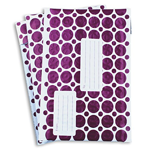 #000 4x8 Inch Pack of 60 Purple and White With Address Labels Poly Bubble Mailers Padded Shipping Envelopes Bags for Packing Goods with Self Adhesive Strip and Made Water Resistant by Wants, Needs and Basics (Image #2)'