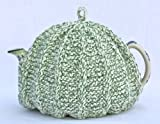 Knit Tea Cozy Cosy Handmade Washable Green and White
