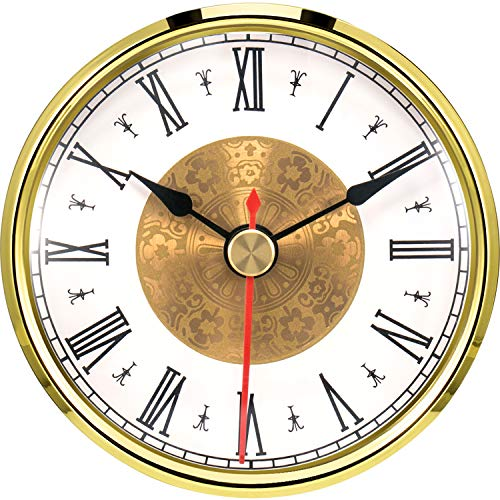 Hicarer 3-1/8 Inch (80 mm) Quartz Clock Insert, Gold Trim, Red Second Hand, Roman Numeral, Quartz Movement