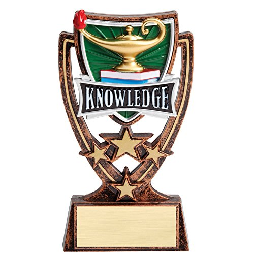 Gold Resin Award - Awards and Gifts R Us Customizable 6 Inch Gold Antique Resin Star Lamp of Knowledge Trophy, Includes Personalization
