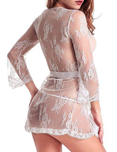 ZIYI Mujer Vestido Pijama Corto Encaje Floral Kimono Bata: Amazon.es: Ropa y accesorios