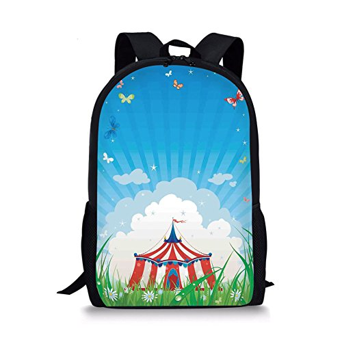 Tent Caddis - iPrint School Bags Circus,Travelling Circus Tent with Clouds Butterflies and Clear Sky Festival Happiness,Red Green Blue for Boys&Girls Mens Sport Daypack
