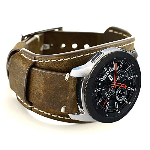Leather Cuff Band - Coobes Compatible with Samsung Galaxy Watch 46mm/Gear S3 Frontier/Classic Bands, 22mm Genuine Leather Cuff Bracelet Replacement Strap with Stainless Steel Buckle for Men Women (Coffe)