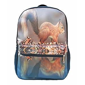 OrrinSports Kids Elementary School Backpack 3D Animal Print Bag For Boys Girls Daypacks Squirrel