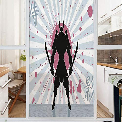 Decorative Window Film,No Glue Frosted Privacy Film,Stained Glass Door Film,Cartoon Dark Samurai in Body Armour with Helmet on Sunburst Vintage Illustration,for Home & Office,23.6In. by 35.4In Pink Bl (Sunburst Mirror Bamboo)