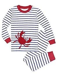 Sara's Prints boys Organic All Cotton Long John Pajamas